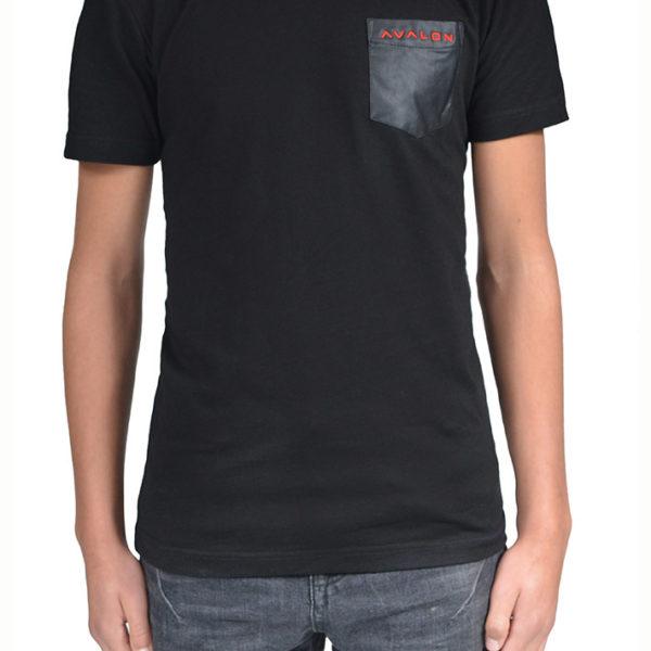T-shirt zwart leren borstzak