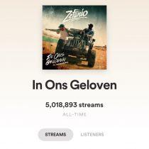 In Ons Geloven behaald 5 miljoen streams op Spotify